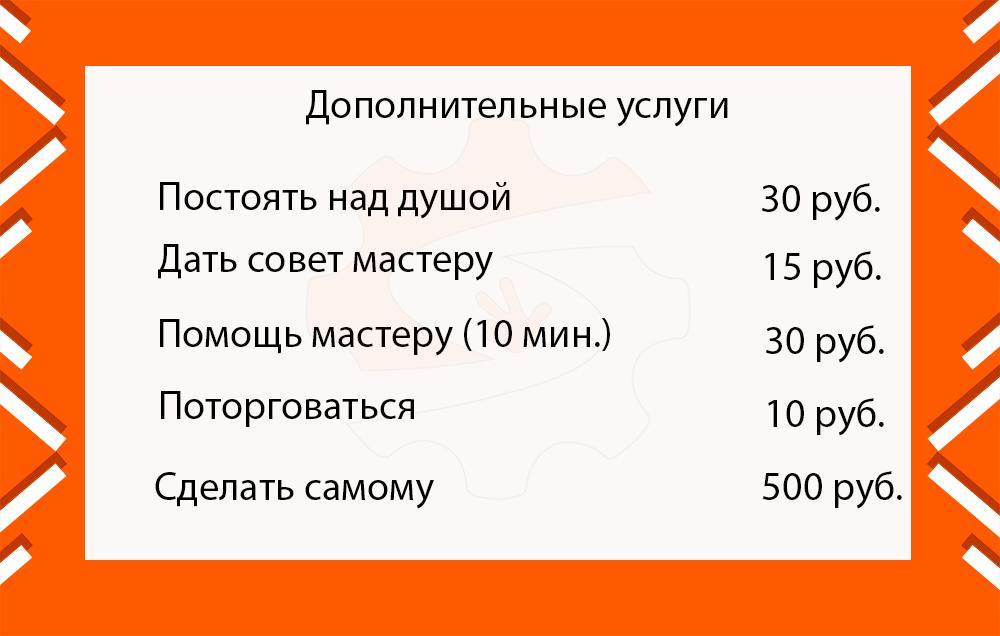 Прайс-лист на дополнительные услуги